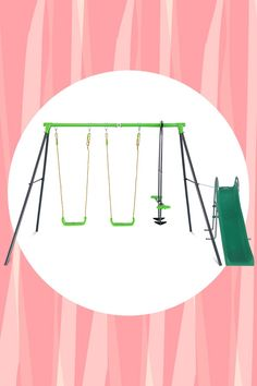 Quadruple the fun with Lifespan Kid's Hurley 3 Station Metal Swing Set! This quality metal swing set features 2 swing seats and a 2 seated glider swing providing fun for up to 4 children.  #lifespankids