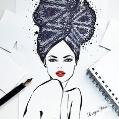 The fifth illustration in my new print collection: LACE. This print is titled LACE RIVIERA. My inspiration was the French Riviera... I imagined a very chic woman dressing for dinner by the water wearing an elaborate headscarf made entirely of lace! Available in Limited Edition from MEGANHESS.COM