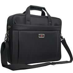 Briefcase Bag 15.6 inch Laptop Bags Waterproof Stylish Nylon Multi-functional Organizer Messenger Bags for Men Women Fit for 15.6 Notebook Macbook Tablet  Black