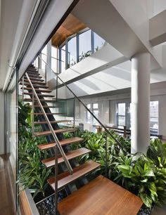 Apartment Design, Stairs With Green Vegetation And Rock Ecoration In Above Penthouse Urban Garden 8: Remarkable Broadway Penthouse Rethinkin...