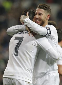 Cristiano celebrates with Ramos after scoring vs Espanyol (January - Real Madrid Football Fever, Best Football Team, Real Madrid Wallpapers, Real Madrid Football, Gareth Bale, Big Love, Best Player, Soccer Players, Cristiano Ronaldo