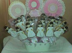 Centro de galletas muñecas de comunión