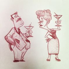 Beyond Belief character design of Frank and Sadie Doyle of the Thrilling Adventure Hour