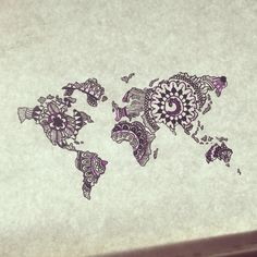 Pin by ruesha on random pinterest map tattoos hennas and handsome paisley world map drawn by me henna tattoo gumiabroncs Image collections