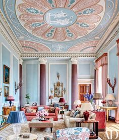 In a four-story apartment at England's Burley on the Hill, interior designer Mark Gillette created an elaborate painted ceiling in the drawing room in dusty pinks and pale blues (Architectural Digest) Pantone 2016, Pantone Color, Deco Rose, Rose Quartz Serenity, Serenity Color, Apartment Renovation, Pink Sofa, Modern Sofa, Architectural Digest