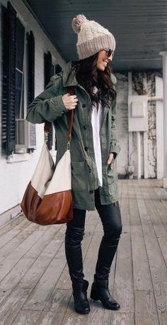 #fall #fashion / military green coat