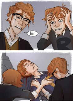 """""""The world had ended, so why had the battle not stopped? Fred Weasley could not be dead, surely the evidence of all his senses were lying"""" Harry Potter Comics, Fanart Harry Potter, Harry Potter Triste, Arte Do Harry Potter, Harry Potter Drawings, Harry Potter Fan Art, Harry Potter Characters, Harry Potter Universal, Harry Potter Memes"""
