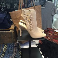 """PIXXY Fashion and Retail on Instagram: """"Fresh for fall: neutral booties with lace-up details @bcbgmaxazria #bootseason #laceup #peeptoe #beige #heels #booties #tuesdayshoesday #latesummer #fall #fashion #centurycity #losangeles #bcbg #Pixxy"""""""