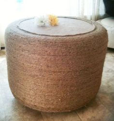 Ottoman made from tire - I would like it to be smaller, but its a great idea to reuse tires to make something so useful. This instructable even has storage space inside it!