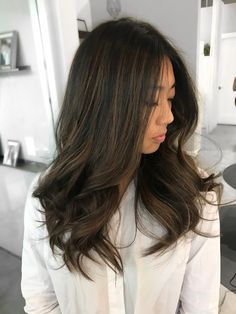 Balayage styled by kyle hair in Asian Hair Highlights, Balayage Asian Hair, Natural Hair Styles, Short Hair Styles, Short Dark Hair, Tips Belleza, Ombre Hair, Hair Trends, Hair Inspiration