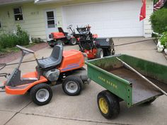 The yard tractor. Husqvarna 970 and original JD 80 cart. Deck Railing Design, Deck Railings, Privacy Fence Deck, Walk Behind Lawn Mower, Yard Tractors, John Deere Mowers, Mtg Decks, Push Lawn Mower, Deck Posts