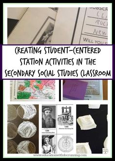 post full of ideas for how to set up station activities that are student-centered in the social studies classroom. 7th Grade Social Studies, Social Studies Projects, Social Studies Classroom, Social Studies Activities, History Classroom, Teaching Social Studies, History Teachers, Teaching History, History Education