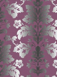 Victoria 39 s room on pinterest damask wallpaper damasks for Purple and silver wallpaper