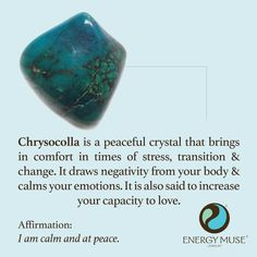 Chrysocolla is a peaceful crystal that brings comfort in times of stress, transition and change. It draws negativity from your body and calms your emotions. #crystals