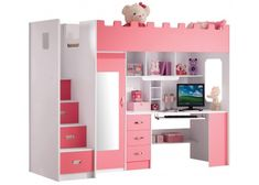 So Extraordinary Full Pink Loft Bed With Desk Closet And Stairs For Girls Cute Bedroom Ideas, Cute Room Decor, Awesome Bedrooms, Cool Rooms, Cool Room Designs, Girl Bedroom Designs, Small Room Bedroom, Kids Bedroom, Bedroom Decor