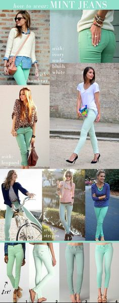Mint jeans! A colorful fashion statement that gives you character for photos without being overly trendy