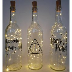 Wine bottle lights Harry Potter decor fairy light bottle