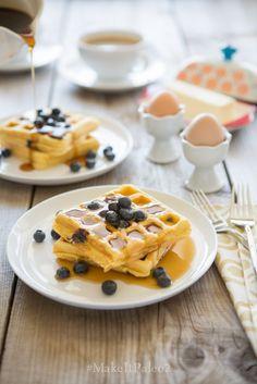 Lemon Blueberry Waffles (Make It Paleo - Primal Palate Pumpkin Waffles, Pancakes And Waffles, Paleo Waffles, Paleo Recipes, Real Food Recipes, Cooking Recipes, Bread Recipes, Paleo Breakfast, Breakfast Recipes