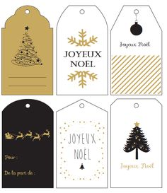 Free Printable : les étiquettes cadeaux de Noël sur le thème noir & or – мастерская дизайнерских инструментов - Décorations de Noel 2018 Christmas Gift Tags Printable, Holiday Gift Tags, Free Christmas Printables, Christmas Gift Wrapping, Diy Christmas Gifts, Free Printables, Wrapping Gifts, Christmas Mood, All Things Christmas