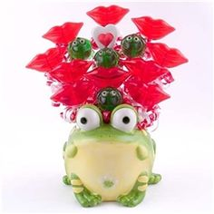 Valentine's Day Candy Bouquet Kissable Lips in a Ceramic Frog