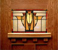 Idea for a Craftsman style covering for our outdated wall-mounted doorbell Stained Glass Lamps, Stained Glass Designs, Stained Glass Panels, Stained Glass Projects, Stained Glass Patterns, Leaded Glass, Mosaic Glass, Craftsman Furniture, Craftsman Interior