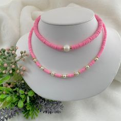 Heishi necklace, Pearl beach necklace, pink choker, Heishi boho necklace, simple beaded necklace, summer bead necklace, Surf necklace.