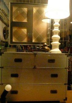 Geometric String-art. Spooled ceramic lamp. 1970's dresser.