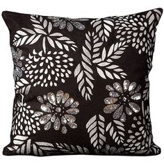Mina Victory Luminescence Flowers Beaded Throw Pillow ($80) ❤ liked on Polyvore featuring home, home decor, throw pillows, black, floral home decor, black accent pillows, floral throw pillows, black toss pillows and flower throw pillows