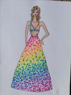 Rainbow wedding dress! Illustration by Kelsey Lovelle.