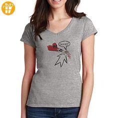 Deadpool Attacks Ouchie! Paper Illustration Design XL Damen V-Neck T-Shirt (*Partner-Link)
