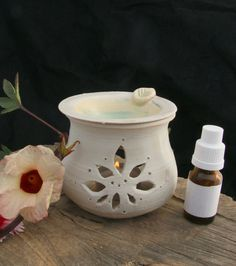 White oil diffuser, natural air freshener, essential oil burner, home scents, romantic candle by PotterPainter on Etsy