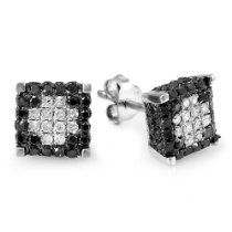 1 00 Carat Ctw Sterling Silver Mens Las Uni Round Black White Diamond Micro Pave Ice Cube Stud Earrings