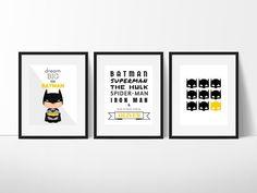 Batman Print Set Batman Wall Art Superhero Wall Art Boys