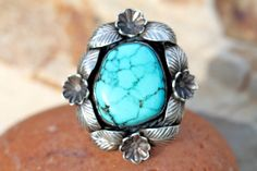 Vintage Signed Navajo 925 Sterling Silver & Turquoise Ring by Floyd Arviso size 8 1/2