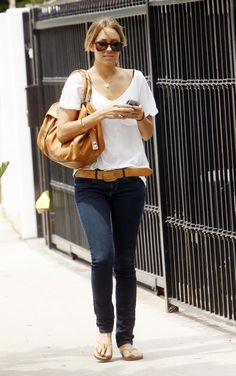 Where can I get Lauren Conrad's white shirt, blue jeans, shoes and tan belt?