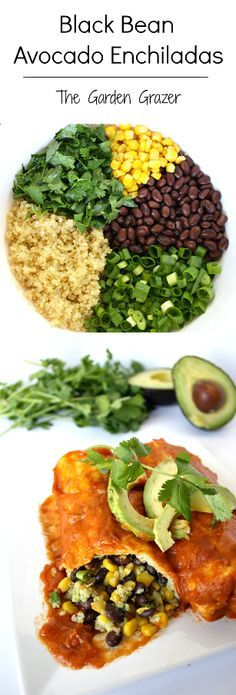 #Recipe: Black Bean Avocado Enchiladas #vegan (Replaces cheese with #avocado and #quinoa)