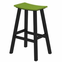 Contempo Bar Height Saddle Seat Barstool - Black Frame with lime green seat #limegrkitchen
