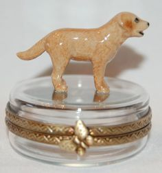 Limoges Porcelain Labrador Dog on Crystal Trinket Box for E's Doggy Style collectibles collection