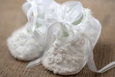 Baby Girl Katherine Shoes in lace with Swarovski Crystal, pearls,Christening booties