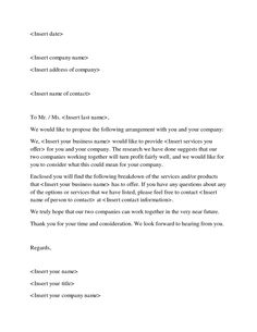 Business Proposal Sample Letters Word Excel Pdf Formats Letter Template