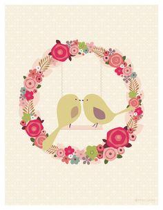 Items similar to Love Nest- Bird Art Print on Etsy Craft Party, Love Birds, Bird Art, Baby Shower, Save The Date, Print Patterns, Clip Art, Scrapbook, Wreaths