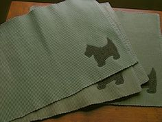 Set of 4 Woven Placemats with Harris Tweed Scottie by chameleonCMC, $15.00