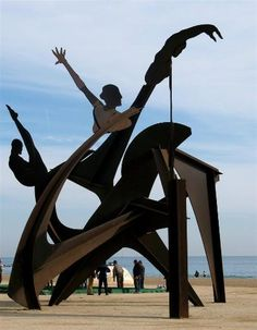 Public sculptures can be found along Barcelona's beaches