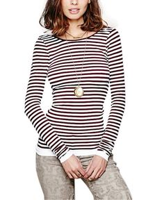 Backless Striped Print Long Sleeve Top