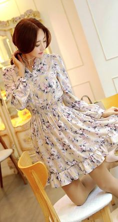 StyleOnme_Girly Floral Long Sleeves Smock Dress #dress #floral #flowery #smockdress