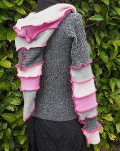 Pink Grey Sweater Upcycled by ThankfulRose on Etsy, $80.00