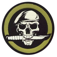 Military Skull and Knife Patch - Full Color