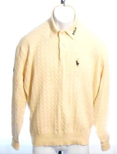 Polo Golf Ralph Luaren Beige Cotton Cable Knit Henley Sweater Seal Island Large…