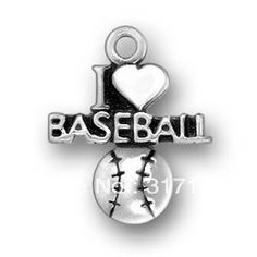 Free Shipping 15pcs antisilver I love baseball jewelry charms(186326)