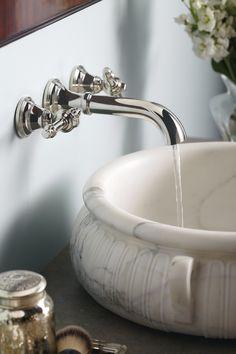 Mediterranean inspired style from KALLISTA. The Inigo collection wall-mounted bathroom faucet by Michael S Smith #kallista   KALLISTA.com